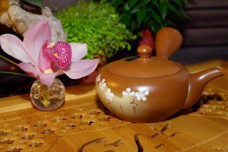 Kyusu Marron fleur blanche